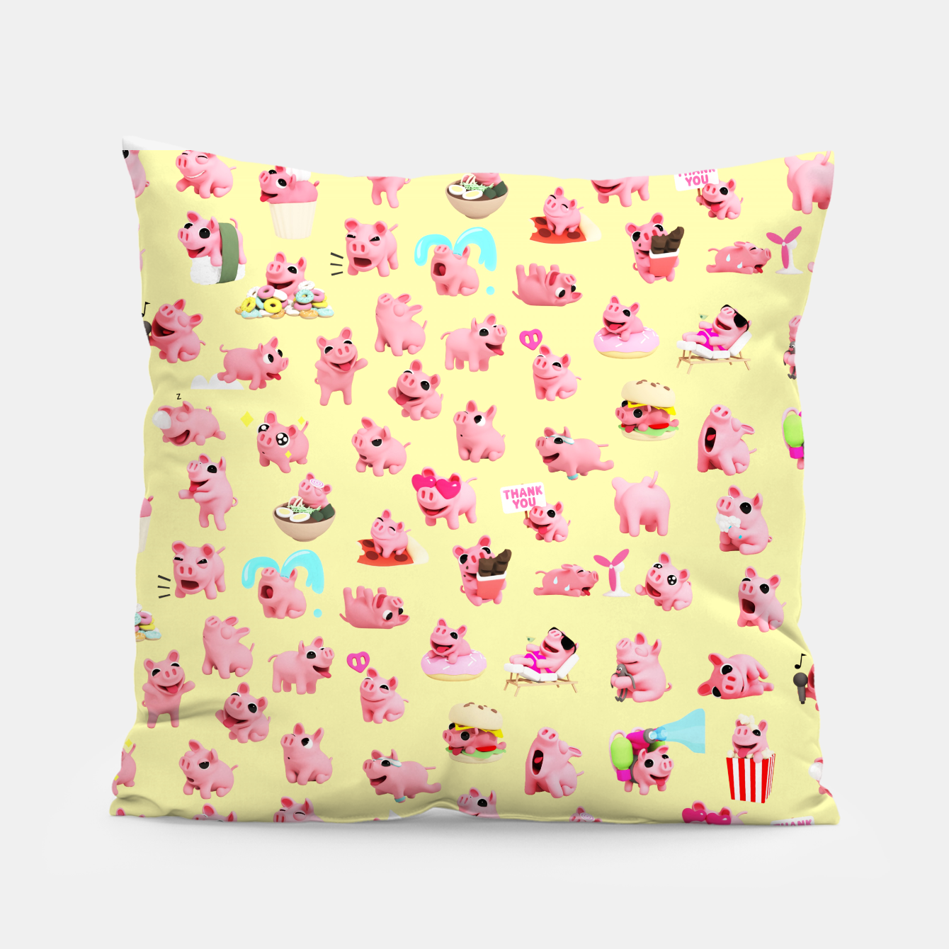 Image of Rosa the Pig Pattern 2 Yellow Pillow - Live Heroes