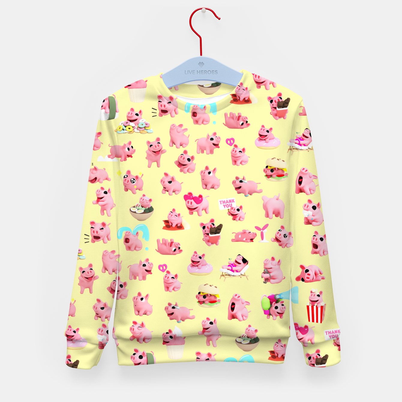 Image of Rosa the Pig Pattern 2 Yellow Kid's Sweater - Live Heroes