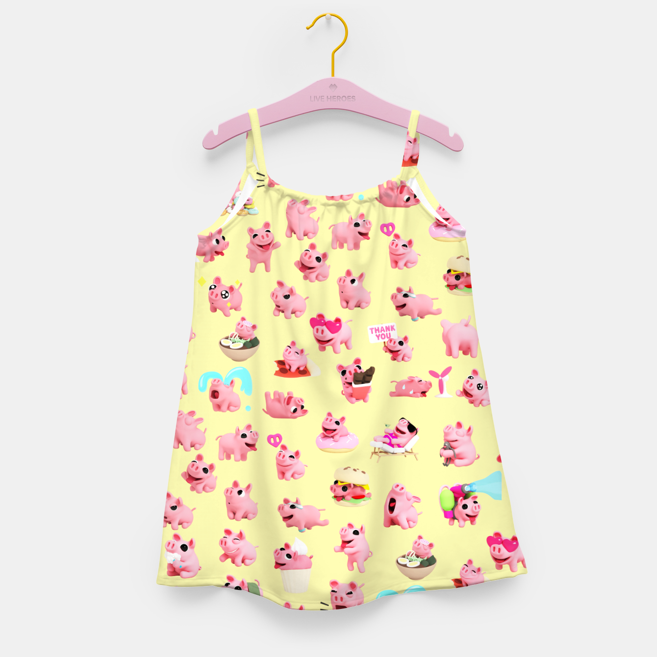 Image of Rosa the Pig Pattern 2 Yellow Girl's Dress - Live Heroes