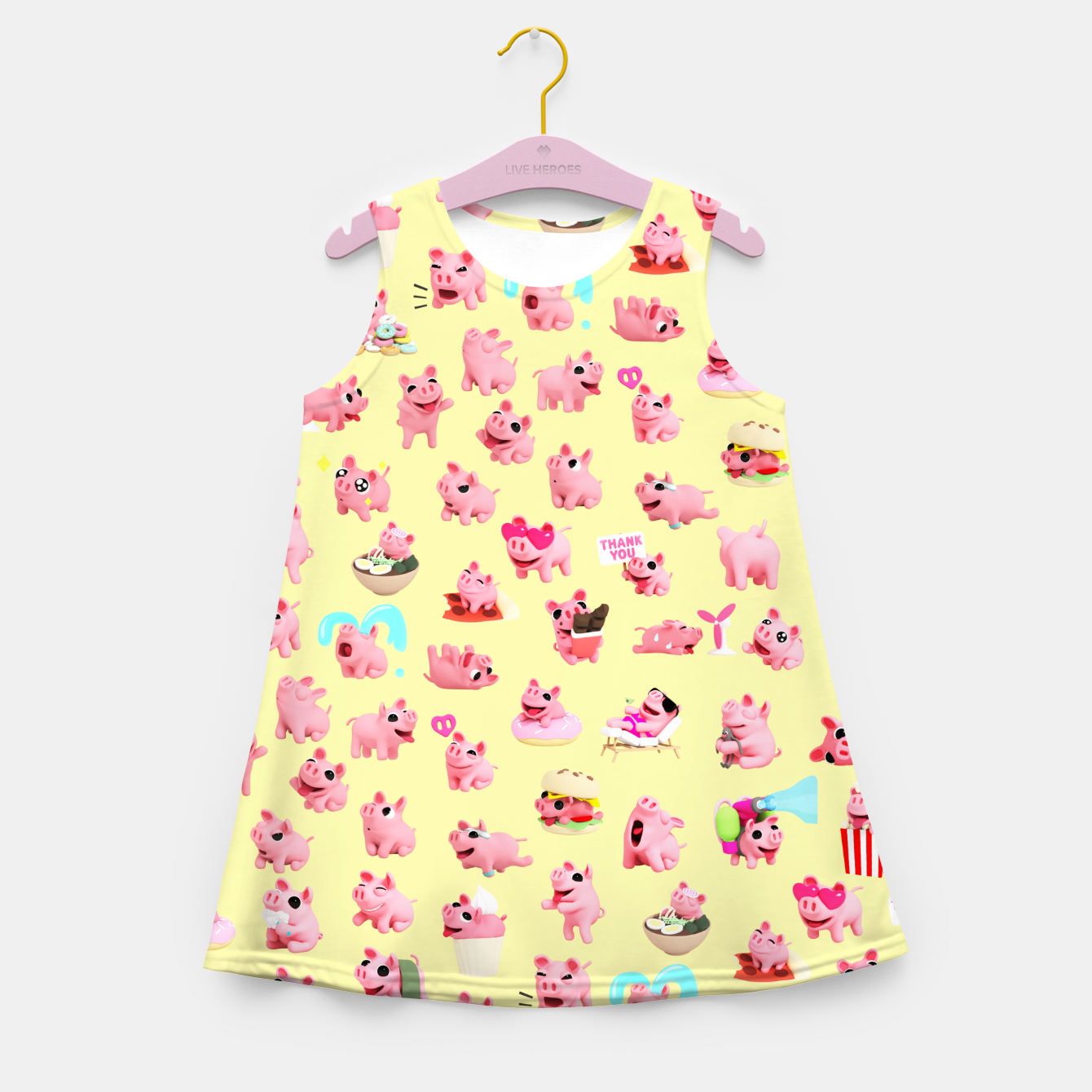 Image of Rosa the Pig Pattern 2 Yellow Girl's Summer Dress - Live Heroes