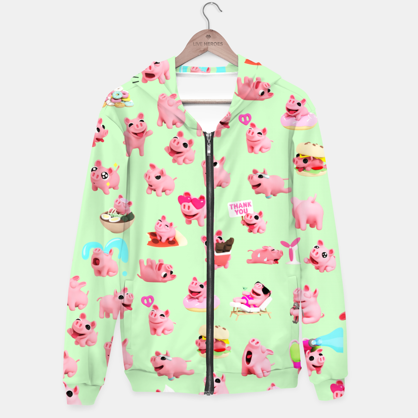 Image of Rosa the Pig Pattern 2 Green Hoodie - Live Heroes