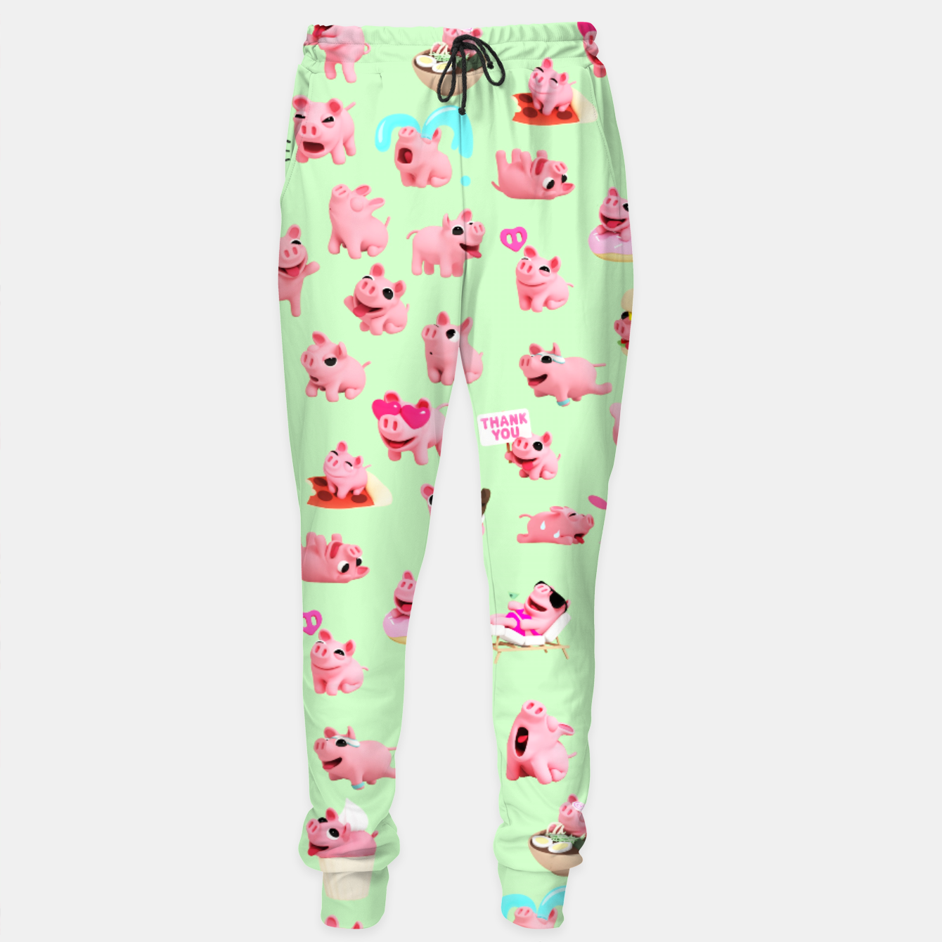 Image of Rosa the Pig Pattern 2 Green Sweatpants - Live Heroes