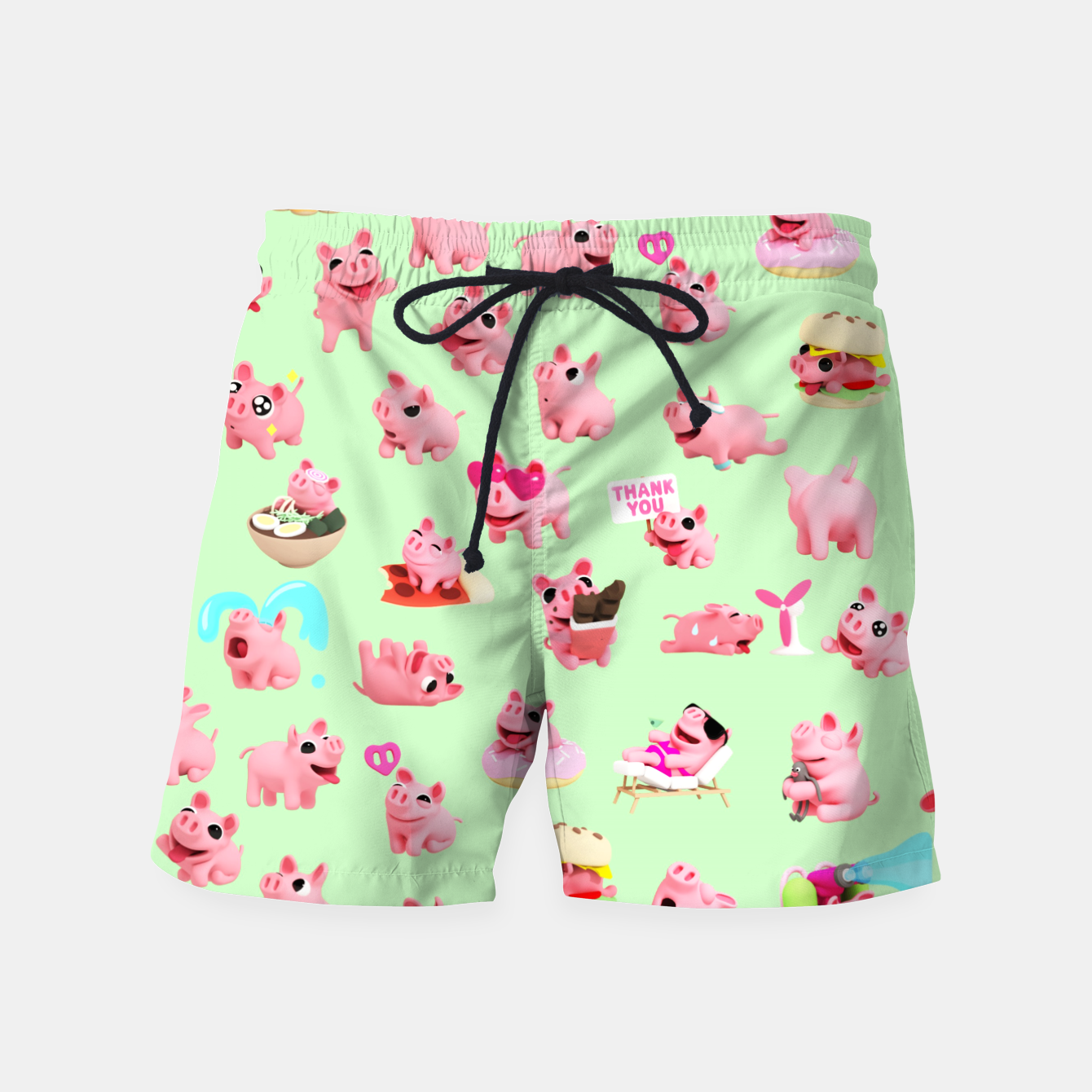 Image of Rosa the Pig Pattern 2 Green Swim Shorts - Live Heroes