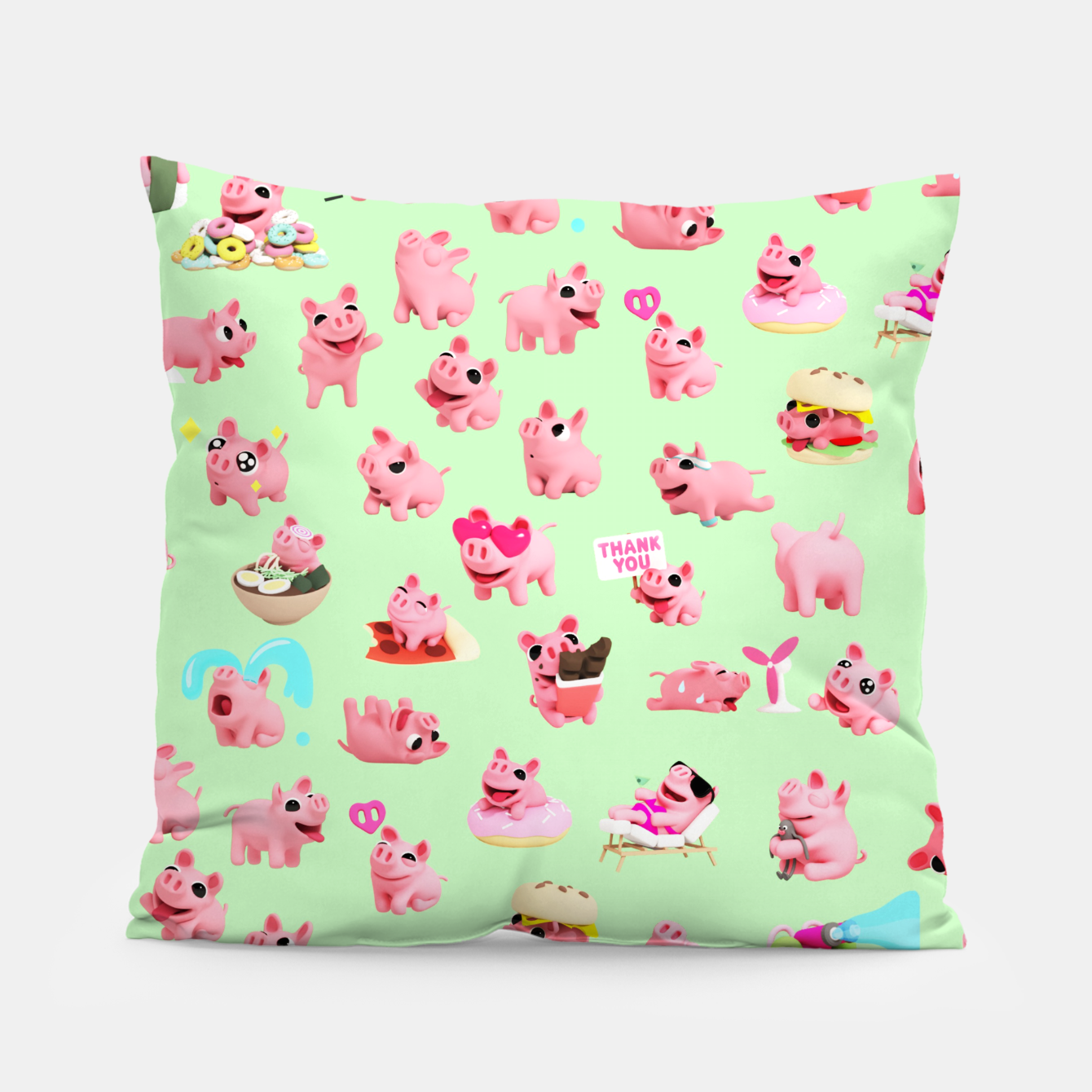 Image of Rosa the Pig Pattern 2 Green Pillow - Live Heroes
