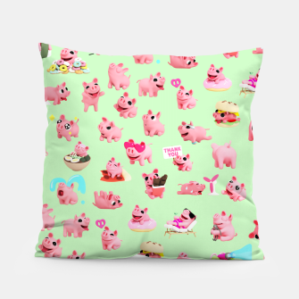 Thumbnail image of Rosa the Pig Pattern 2 Green Pillow, Live Heroes