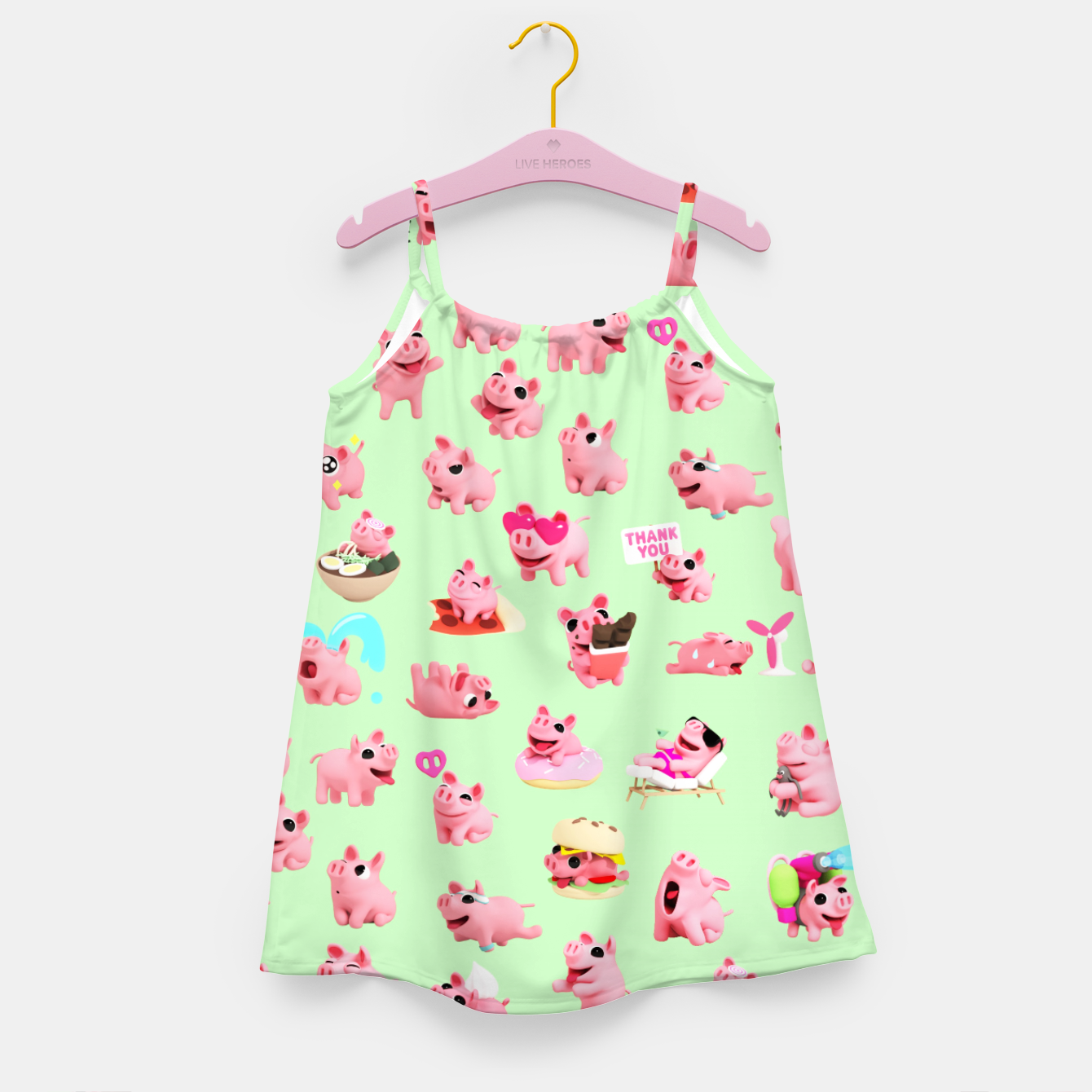 Image of Rosa the Pig Pattern 2 Green Girl's Dress - Live Heroes