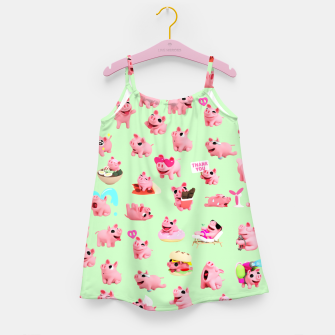 Miniatur Rosa the Pig Pattern 2 Green Girl's Dress, Live Heroes