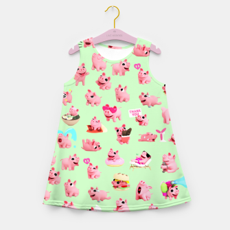 Miniatur Rosa the Pig Pattern 2 Green Girl's Summer Dress, Live Heroes