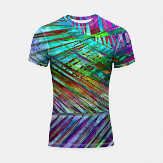 Multicolor Palm Leaves Shortsleeve Rashguard imagen en miniatura