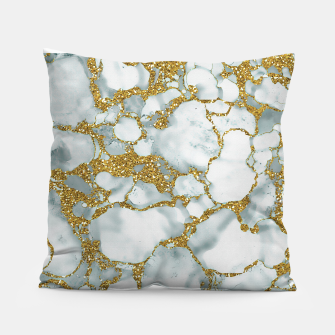 Painted Marble Texture with Gold Pillow imagen en miniatura