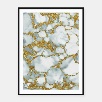 Painted Marble Texture with Gold Framed poster imagen en miniatura