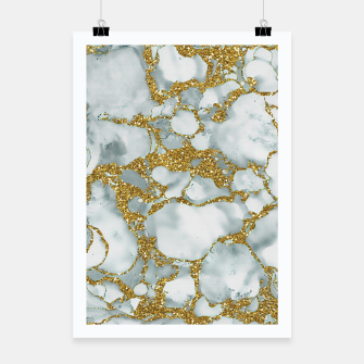 Painted Marble Texture with Gold Poster imagen en miniatura