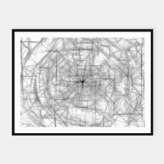 Thumbnail image of psychedelic drawing and sketching abstract pattern in black and white Framed poster, Live Heroes