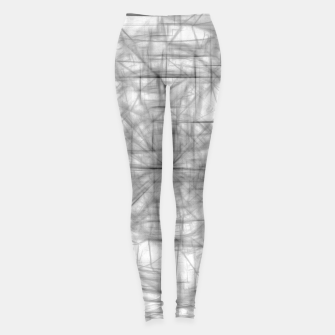 Thumbnail image of psychedelic drawing and sketching abstract pattern in black and white Leggings, Live Heroes