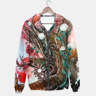 Thumbnail image of Tree of flowers  Cotton zip up hoodie, Live Heroes