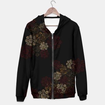 Miniatur Japanese traditional emblem art cherry blossoms black Cotton zip up hoodie, Live Heroes