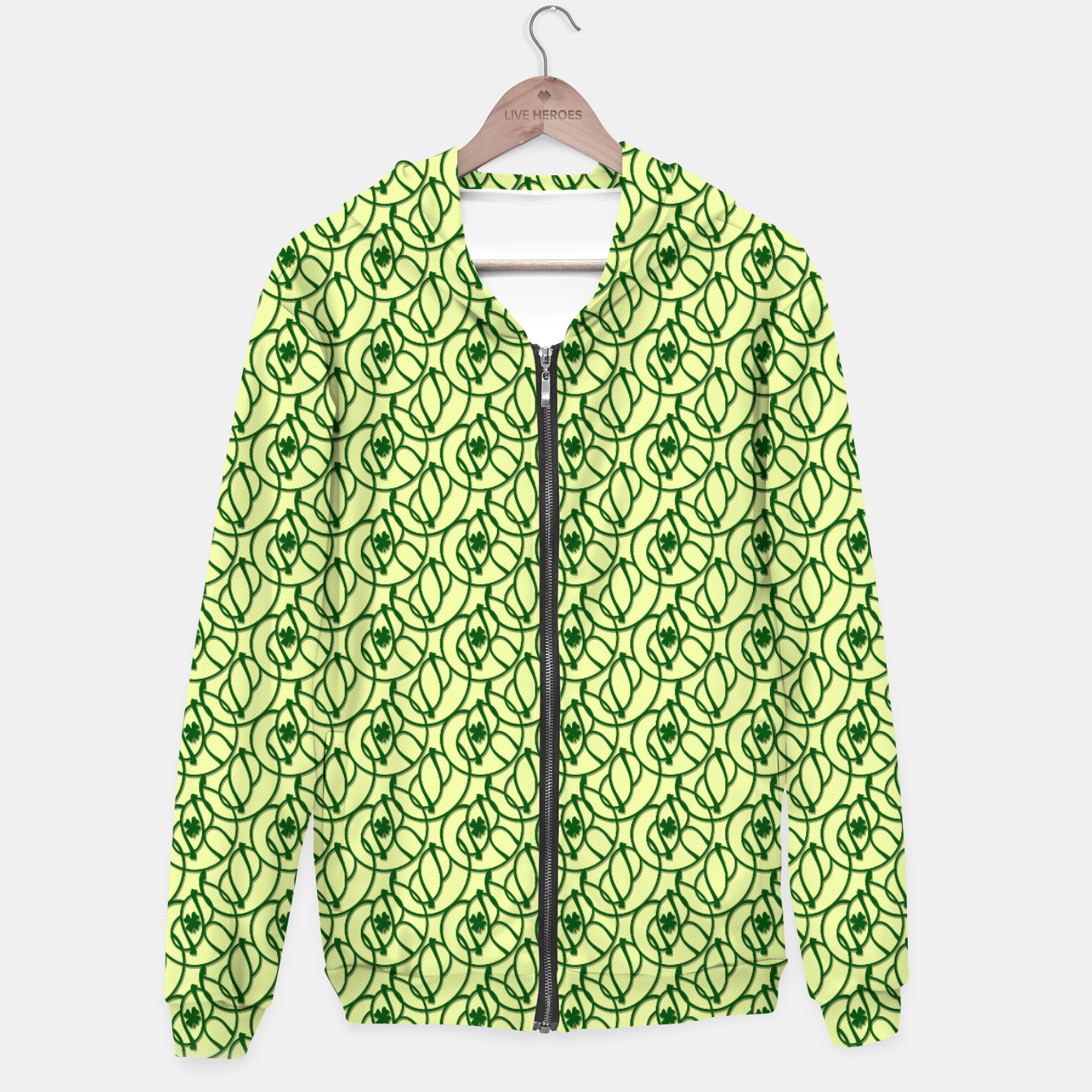 Image of St. Patrick's Day Clovers Cotton zip up hoodie - Live Heroes