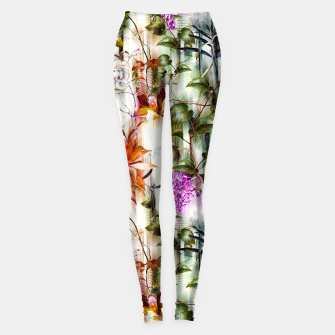 Thumbnail image of Abstract Motion Blur Floral Botanical Leggings, Live Heroes