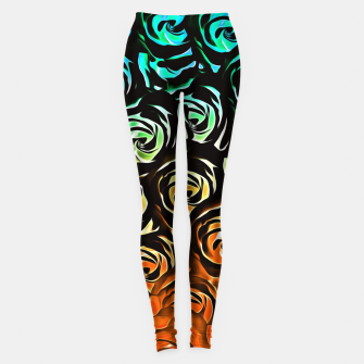 Thumbnail image of rose pattern texture abstract background in blue green orange Leggings, Live Heroes