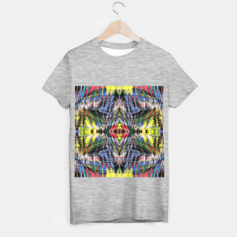 geometric symmetry pattern abstract background in blue yellow green red T-shirt regular obraz miniatury