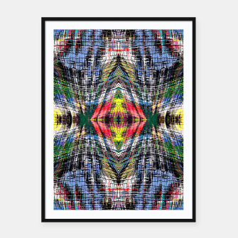 geometric symmetry pattern abstract background in blue yellow green red Framed poster obraz miniatury