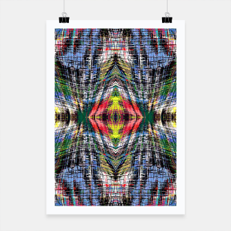 geometric symmetry pattern abstract background in blue yellow green red Poster obraz miniatury