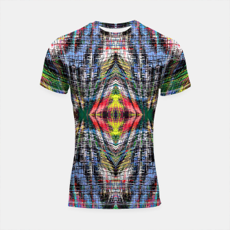 geometric symmetry pattern abstract background in blue yellow green red Shortsleeve rashguard obraz miniatury