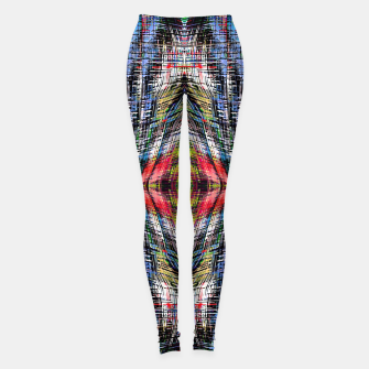 geometric symmetry pattern abstract background in blue yellow green red Leggings obraz miniatury
