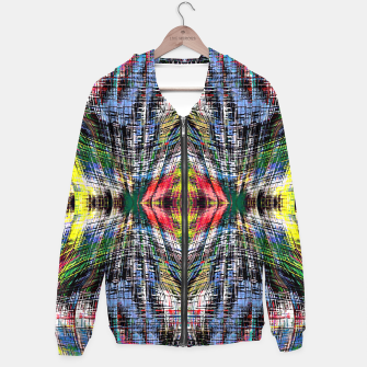 geometric symmetry pattern abstract background in blue yellow green red Cotton zip up hoodie obraz miniatury