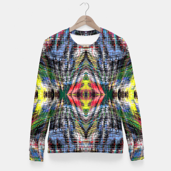 geometric symmetry pattern abstract background in blue yellow green red Woman cotton sweater obraz miniatury