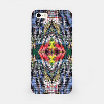 geometric symmetry pattern abstract background in blue yellow green red iPhone Case obraz miniatury