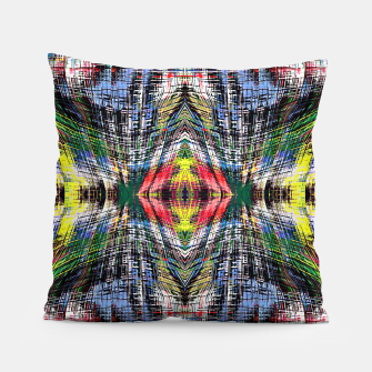 geometric symmetry pattern abstract background in blue yellow green red Pillow obraz miniatury