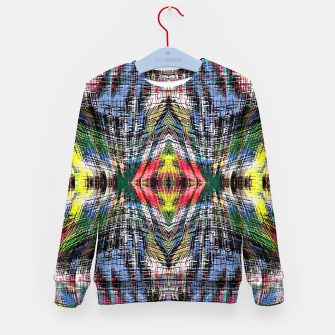 geometric symmetry pattern abstract background in blue yellow green red Kid's sweater obraz miniatury