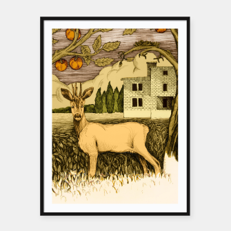 Miniature de image de Deer   on the background of trees and house Plakaty w ramie , Live Heroes