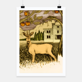 Miniature de image de Deer   on the background of trees and house Plakat, Live Heroes