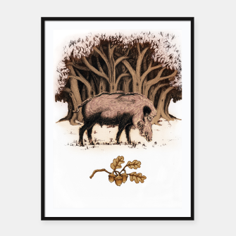Miniature de image de Wild boar, wild boar on the grass, illustration Plakaty w ramie , Live Heroes