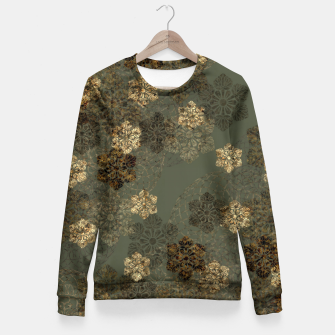 Thumbnail image of Japanese emblem art vintage green gold Woman cotton sweater, Live Heroes