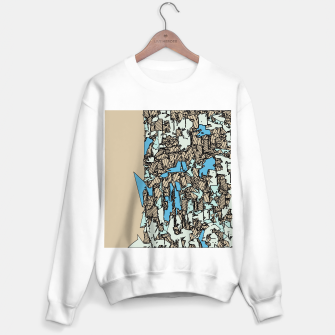 Thumbnail image of drawing and sketching abstract in blue with brown background Sweater regular, Live Heroes