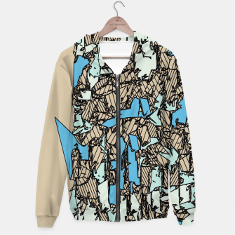 Thumbnail image of drawing and sketching abstract in blue with brown background Cotton zip up hoodie, Live Heroes