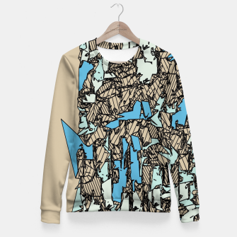 Thumbnail image of drawing and sketching abstract in blue with brown background Woman cotton sweater, Live Heroes
