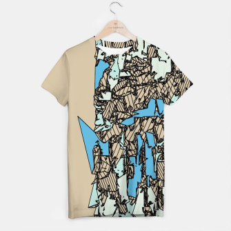 Thumbnail image of drawing and sketching abstract in blue with brown background T-shirt, Live Heroes