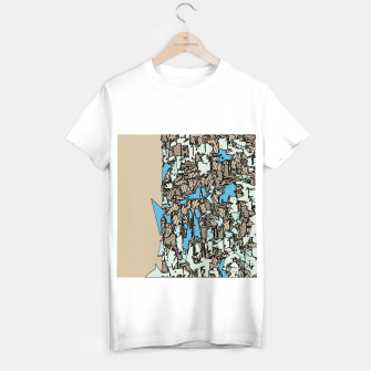 Thumbnail image of drawing and sketching abstract in blue with brown background T-shirt regular, Live Heroes