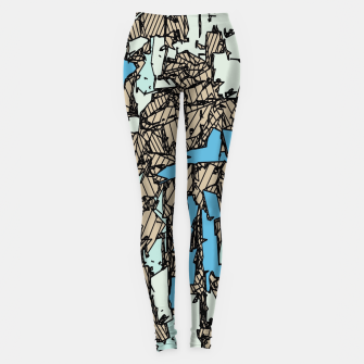 Thumbnail image of drawing and sketching abstract in blue with brown background Leggings, Live Heroes