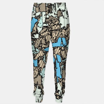 Thumbnail image of drawing and sketching abstract in blue with brown background Cotton sweatpants, Live Heroes