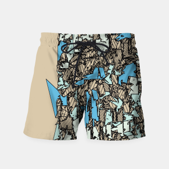 Thumbnail image of drawing and sketching abstract in blue with brown background Swim Shorts, Live Heroes