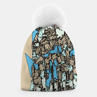 Thumbnail image of drawing and sketching abstract in blue with brown background Beanie, Live Heroes