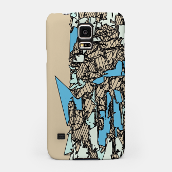 Thumbnail image of drawing and sketching abstract in blue with brown background Samsung Case, Live Heroes