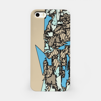 Thumbnail image of drawing and sketching abstract in blue with brown background iPhone Case, Live Heroes