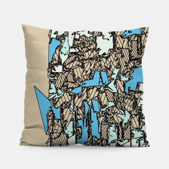 Thumbnail image of drawing and sketching abstract in blue with brown background Pillow, Live Heroes