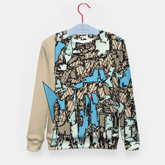 Thumbnail image of drawing and sketching abstract in blue with brown background Kid's sweater, Live Heroes